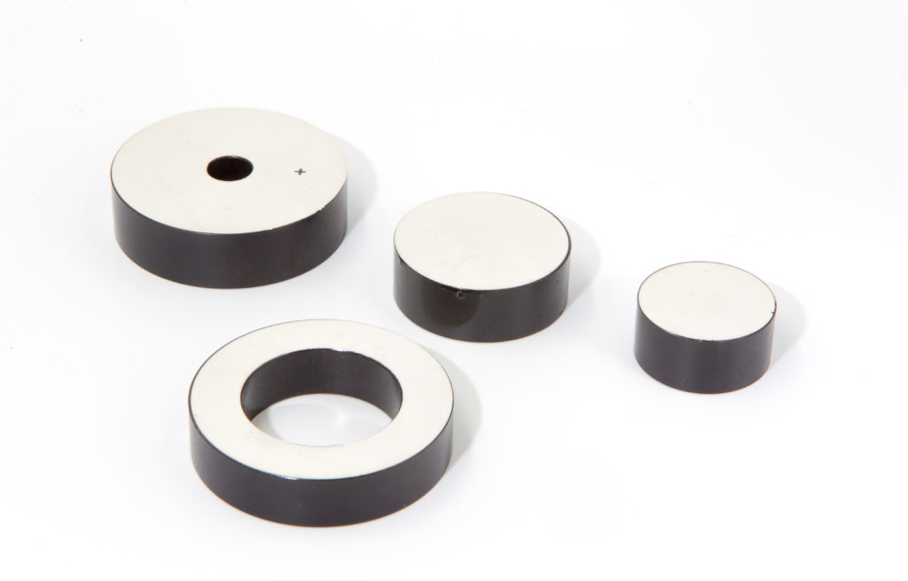 What is the use of piezoelectric ceramics in a transducer?